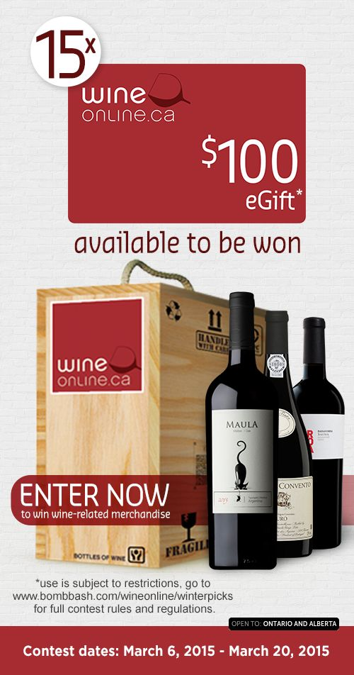 15 $100 WineOnline E-Giftcards available to be won!