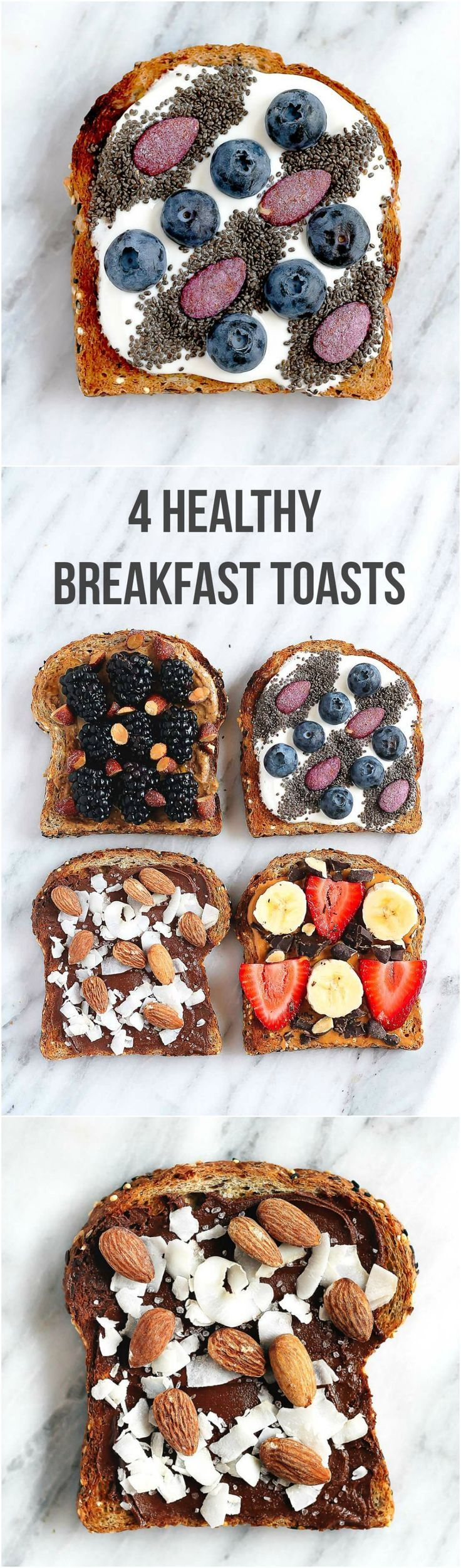 Four healthy breakfast toasts to get your workday off to a healthy start.