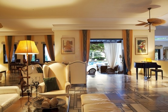 The impressive Yria Resort & Spa lobby -a mix of refined elegance and warm hospitality.
