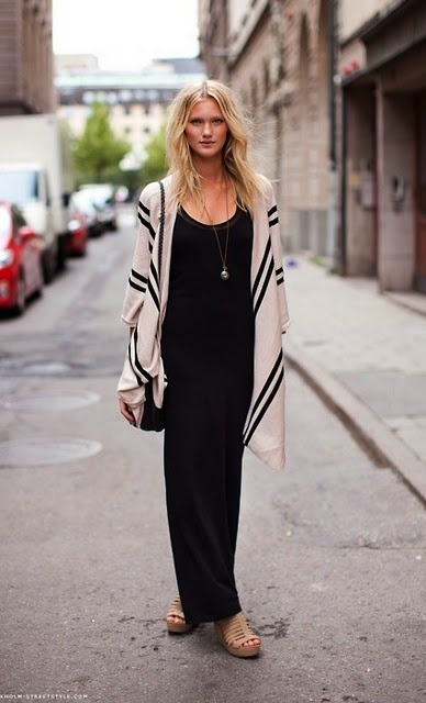 sweater: Cardigans, Long Dresses, Long Sweaters, Street Style, Outfit, Blackmaxi, Fall Looks, Black Maxi Dresses, Covers Up
