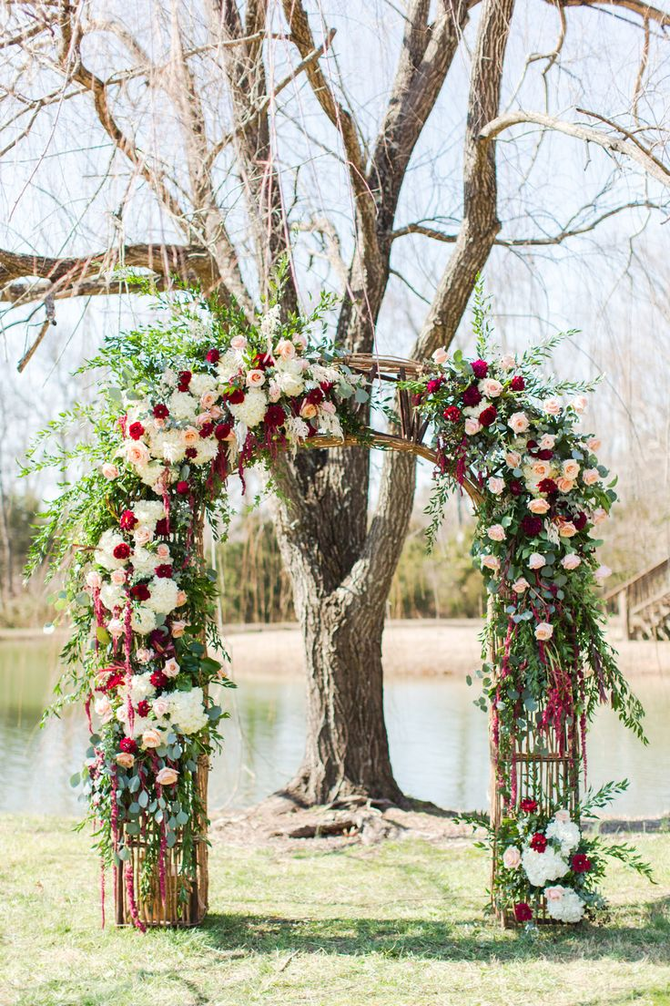Winter Wedding Arbor Florals | Maroon & Blush Wedding | Wedding Florals | Winter Wedding | Outdoor Wedding