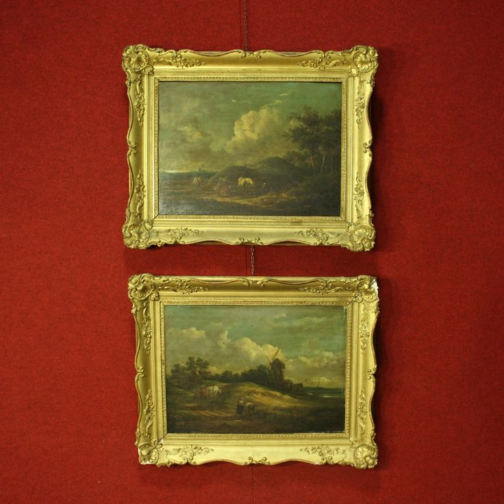 Price: 3400€ Pair of paintings from Northern France of 19th century. Oil on panel depicting pleasant landscapes with characters. Paintings of great measure and impact with carved and golden frames in wood and plaster. A frame has some break / missing. Overall in fair condition, with some signs of the time. #antiques #antiquariato Visit our website www.parino.it