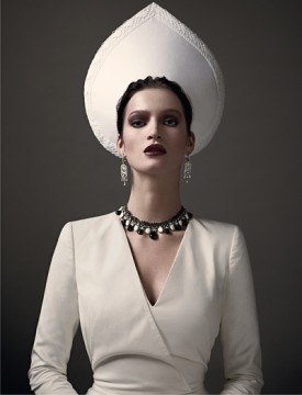 Editorial on the modern kokoshnik. Russian Vogue. April 2011