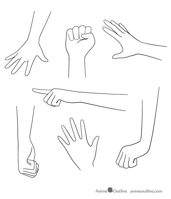 anime hands | How to Draw Anime Hands Male and Female | Anime Outline