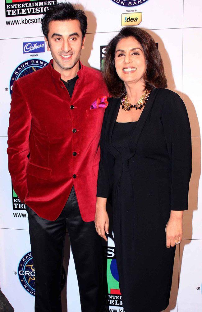 Ranbir Kapoor and Neetu Singh Kapoor on the sets of Kaun Banega Crorepati. #Bollywood #Fashion #Style
