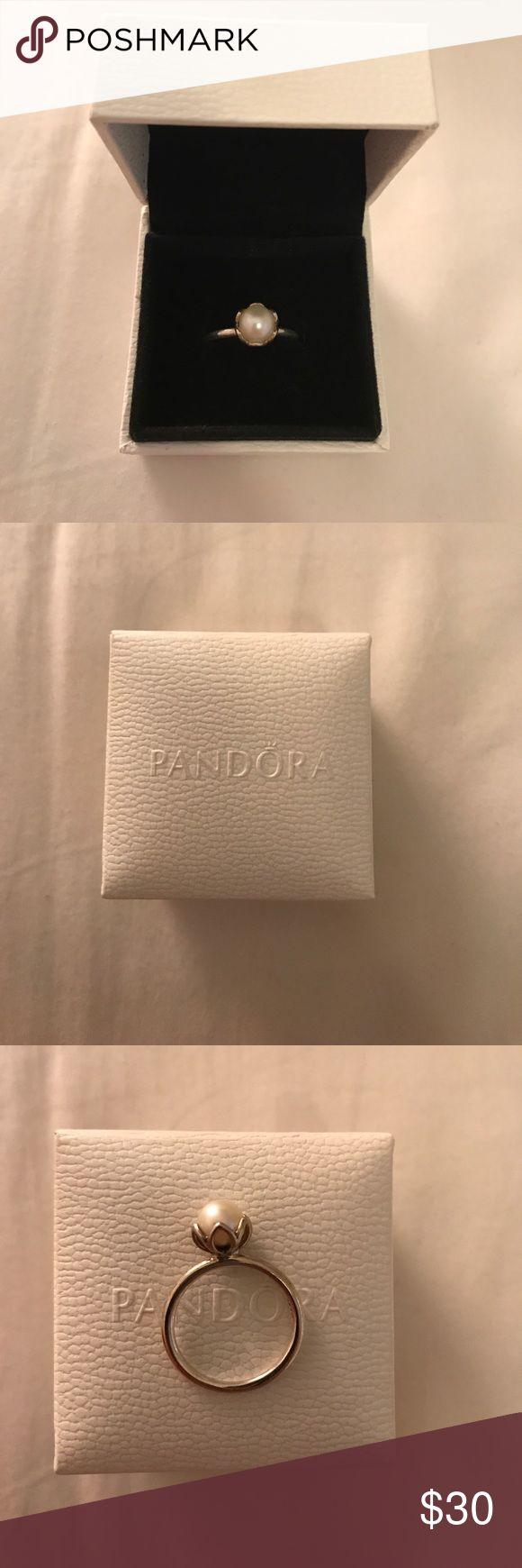 Pandora pearl ring Size 5 pearl ring from Pandora Pandora Jewelry Rings