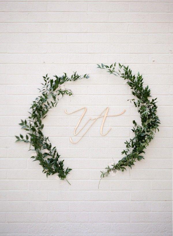 leaf swag and script monogram - photo by http://www.erinjsaldana.com/ - http://ruffledblog.com/romantic-organic-wedding-at-elysian-la | Ruffled