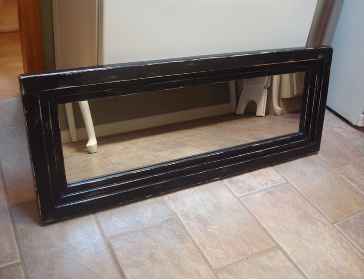 Distressed wood mirror black wall mirror rustic mirror for Long framed mirror