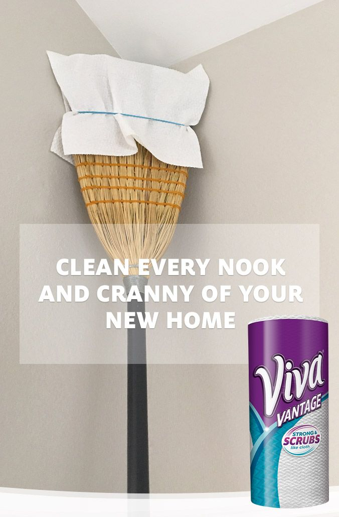 When you're moving into a new home, you want to move into somewhere nice and clean. And if you're meticulous about cleaning like us, we know you want to get every nook and cranny, including the ceiling corners. Attach a Viva® paper towel to a broom with a large rubberband for those hard to reach cobwebs, dirt and dust. Even if you haven't moved, this is a great life hack for spring cleaning. GET A COUPON now for Viva® Towels. Offer valid until 1/1/2017.