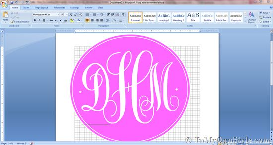 No Photoshop?  How to make a printable monogram using a word processor. Use the monogram to decorate furniture, gifts, and more.  Step-by-step photo tutorial.  {InMyOwnStyle.com}   #printables #fonts  #monograms