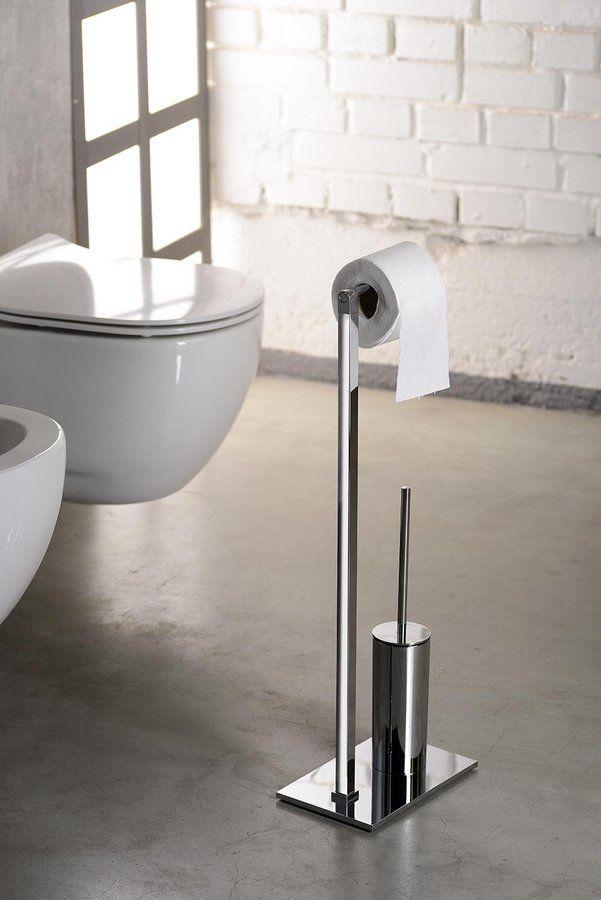 Stojan s držákem na toaletní papír a WC štětkou, hranatý, chrom