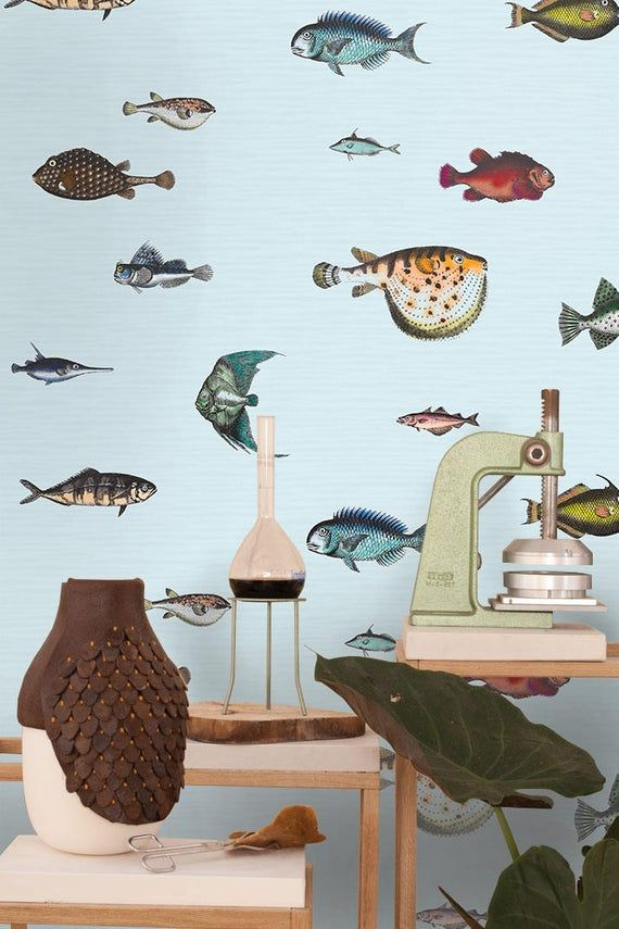 Tropical Fish Wallpaper Wall Paper Paper Wall Art Kitchen Decor Bedroom Decor Kitchen Wall Decor Bedroom Wall Decor Ocean Wallpaper Ozean Tapete Fornasetti Tapete Wanddekor Schlafzimmer