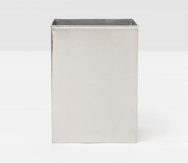 Pigeon & Poodle Tiset Square Wastebasket in Shiny Nickel and Optional Tissue Box from The Well Appointed House