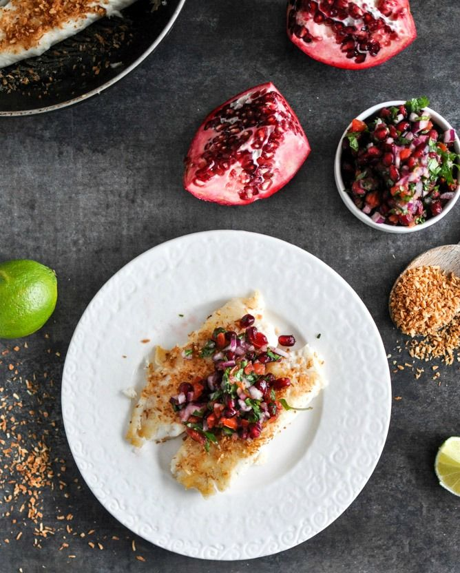 Toasted Coconut Tilapia with Pomegranate Salsa | howsweeteats.com