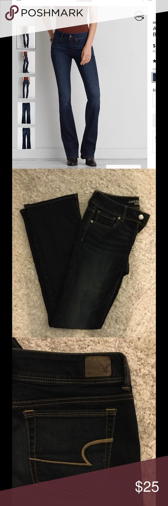 American Eagle Kick Boot Long Jeans American Eagle Outfitters kick boot long jeans. These Jeans are a dark wash and have only been worn once or twice and are in perfect condition. They are long jeans, I am 5'9 and they fit my legs great. I would be happy to give a discount to bundle these with the other pair I have listed, just let me know if interested. American Eagle Outfitters Jeans Boot Cut