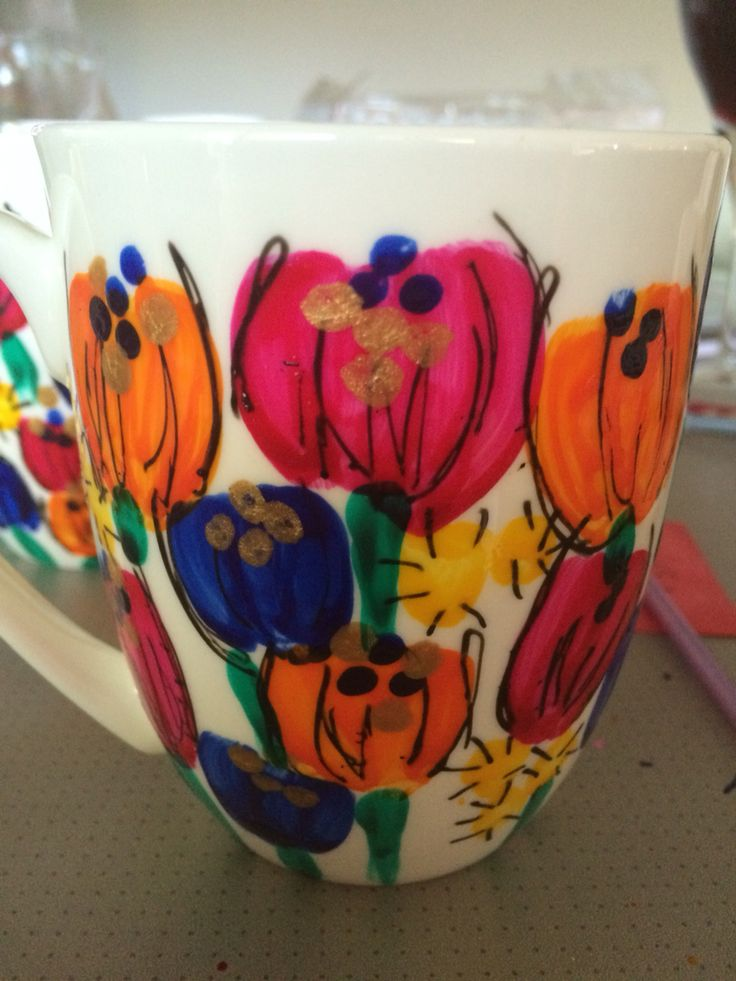 More of my oh so pretty hand painted mugs
