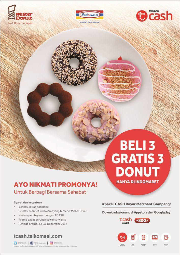 Khusus di hari Rabu,Beli 3 Gratis 3 Mister Donut dengan Tcash d Indomaret.  Periode : 1 Agustus - 31 Desember 2017