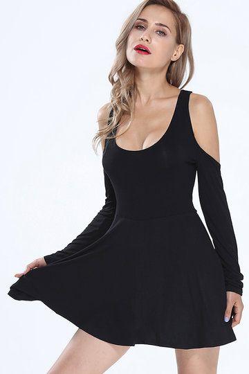 Black Off-The-Shoulder Slim Fit Dress - US$15.95 -YOINS