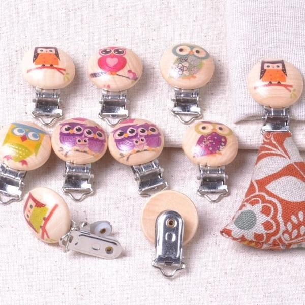Baby Pacifier Suspender Clips with Owls
