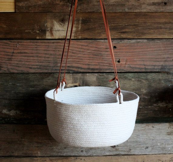 White Cotton Hanging Basket by FloraFaunaCollective on Etsy