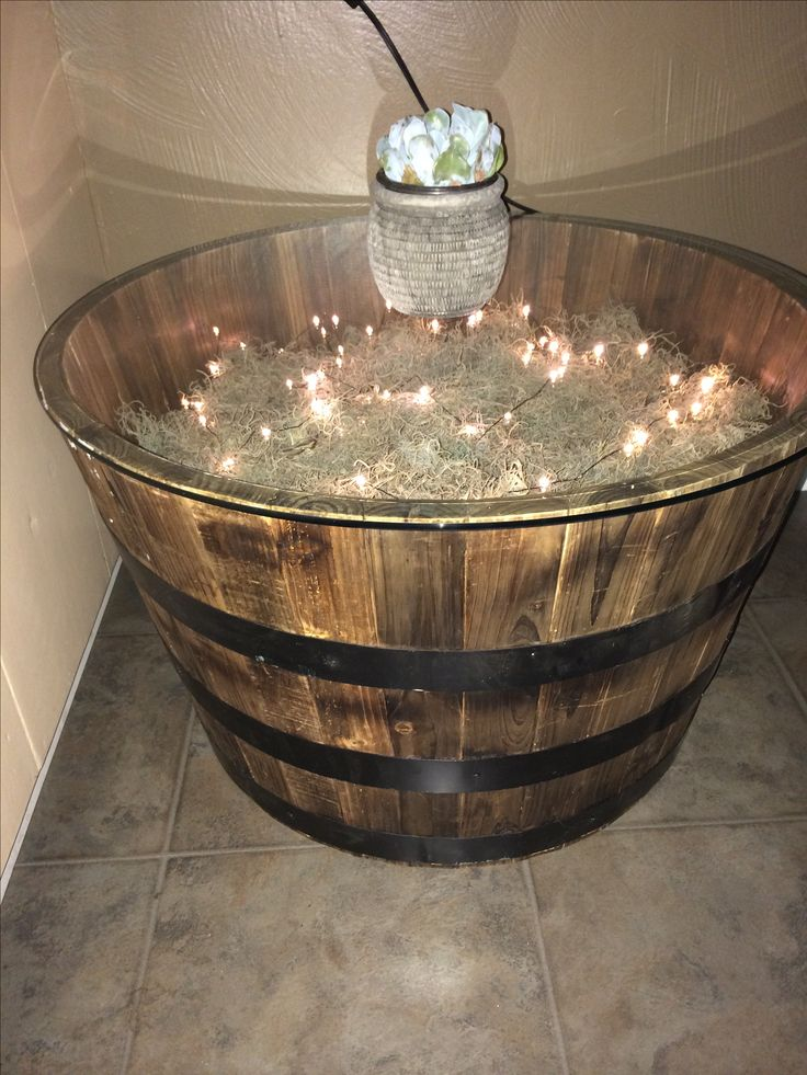 Whiskey barrel table.