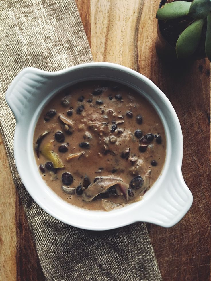My current favourite vegan recipe. Created by me. Black beans, onions, garlic, eggplants, jalapeños pepper, vegetable stock, coconut milk, Himalayan salt and spices.