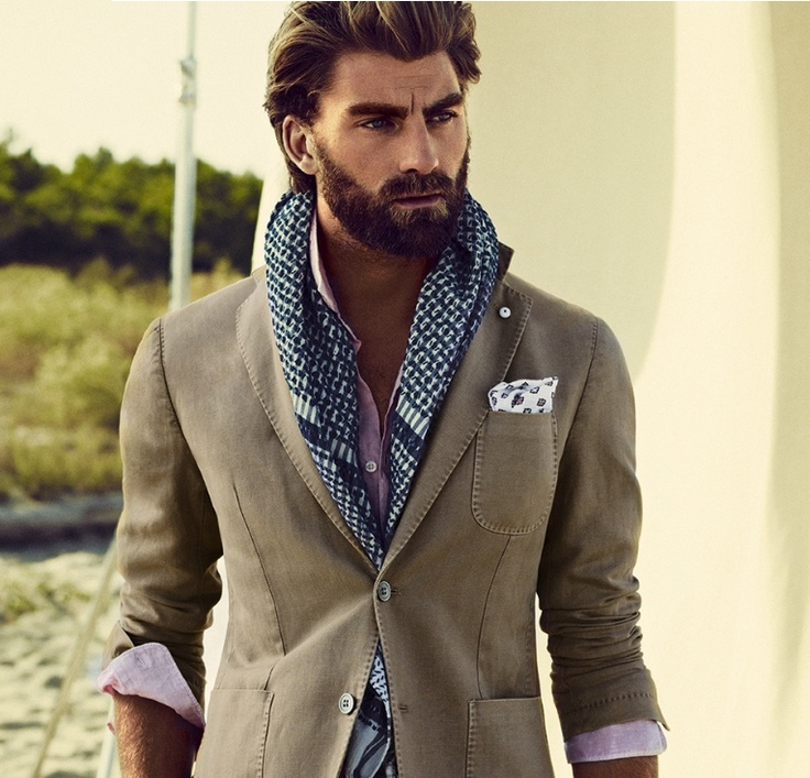 Sport Coat, Rolled up dress shirt, Texture scarf, pocket square. YES