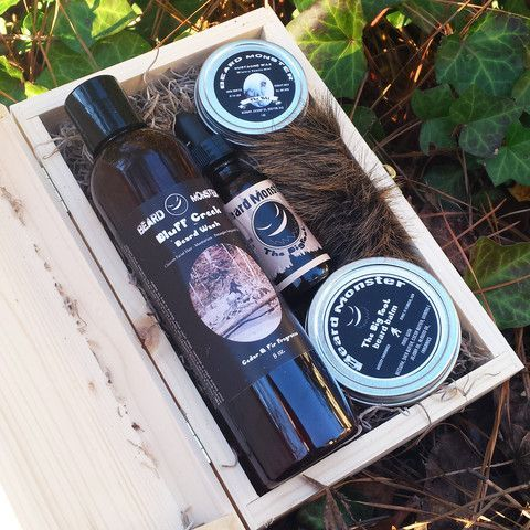 For the ultimate beardsman who loves products with an exotic, mysterious fragrance, we present this set of our beard balm, beard oil, beard wash, and mustache wax. This special gift set comes packed in a hinged wooden box with moss lining as pictured. The box is perfect for gifting, and also makes a handy carrying case for all four products. If you're looking for a Christmas gift for the Beard Monster in your life, this is absolutely perfect.