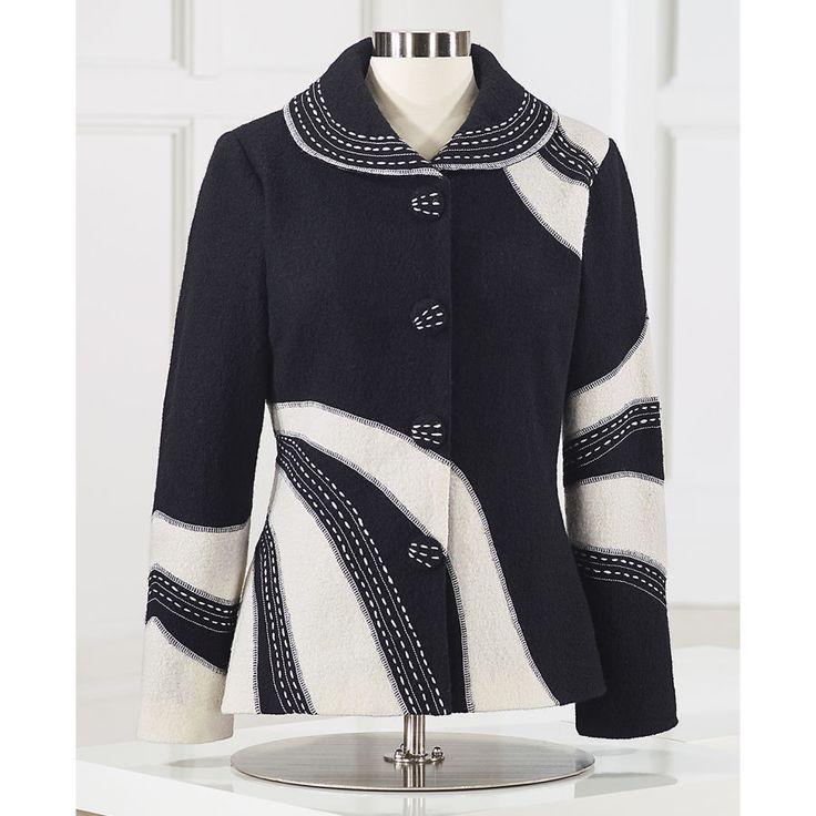 Abbigliamento femminile, unico Boutique Styles & Classic Armadio Essentials - High-Contrast lana cotta Giacca