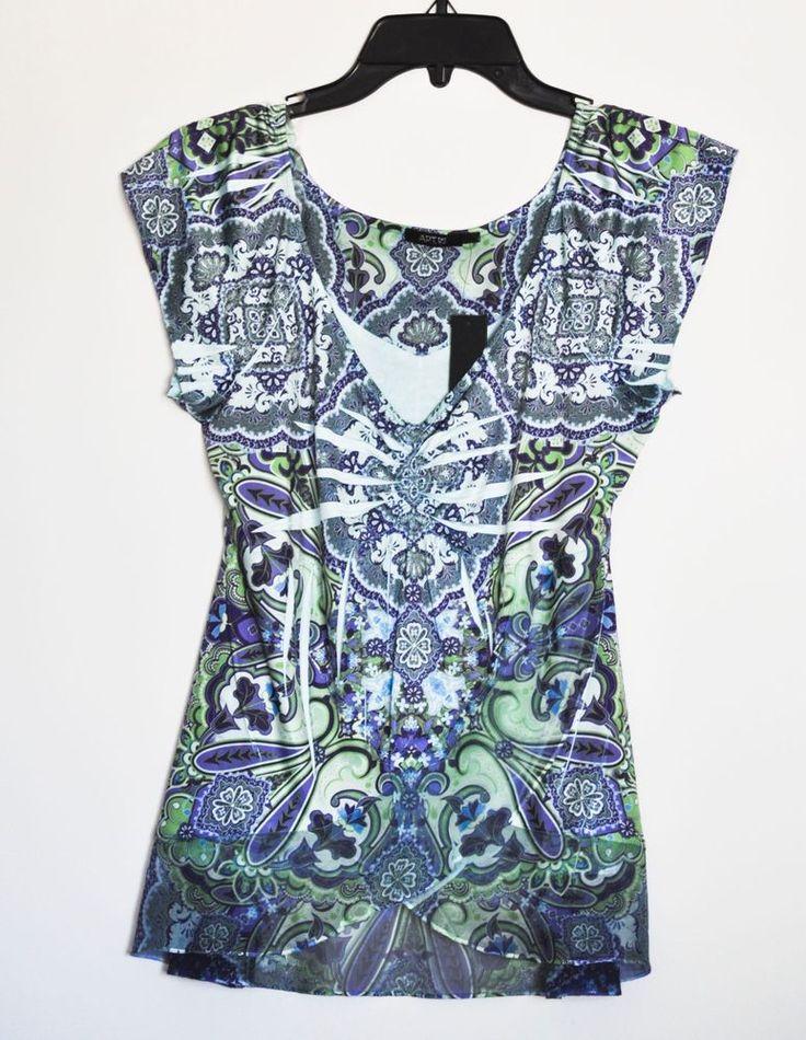 APT. 9 Women Top Tunic Paisley Cap Sleeve Green Blue Petite size M NWT #Apt9 #Tunic #Casual