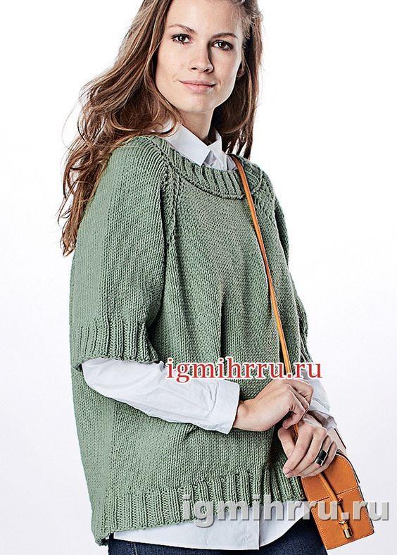 Простой объемный пуловер цвета хаки. Вязание спицами