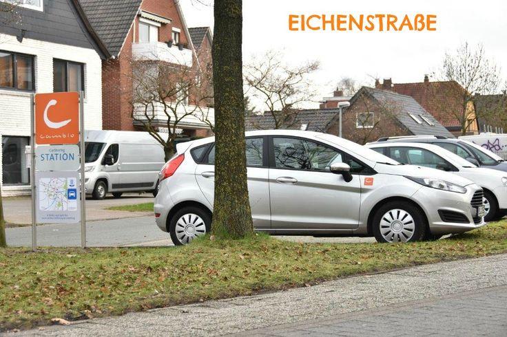 OLDENBURG: Seit dem Jahreswechsel gibt es in Oldenburg 15 cambio-Stationen! An der Kreuzung Bloherfelder Straße / Uhlhornsweg / Eichenstraße stehen zwei Ford Fiesta bereit.