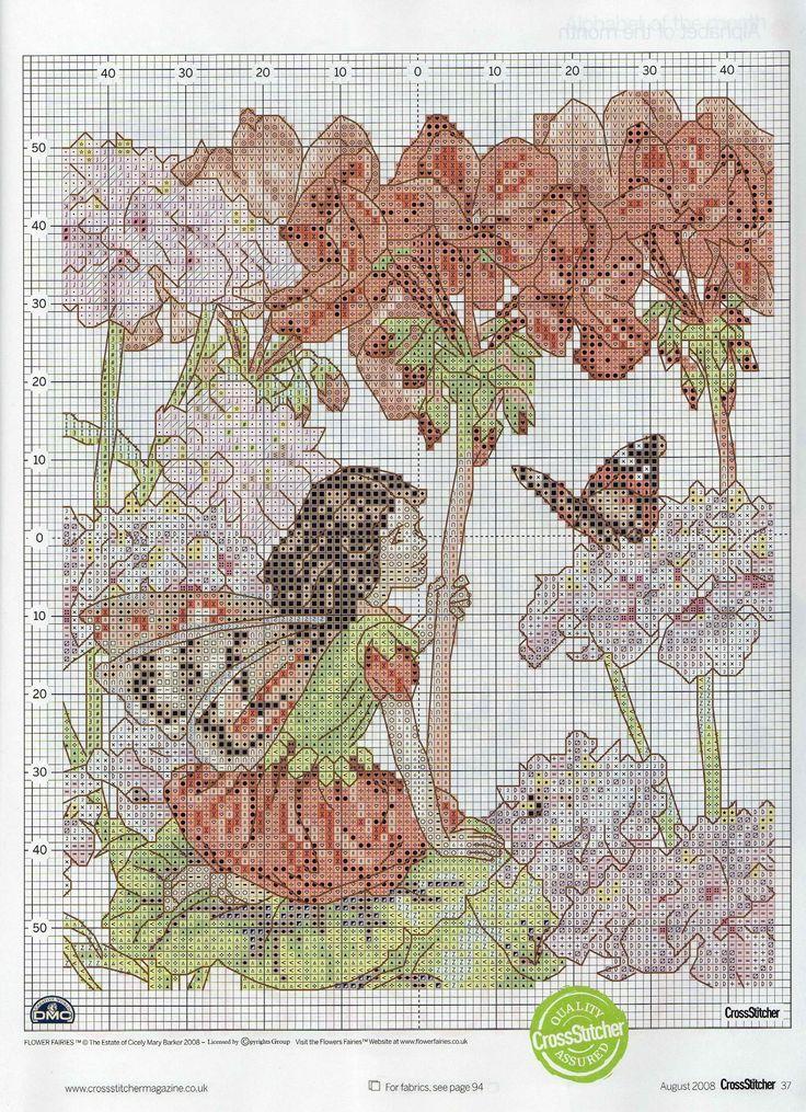 Cross stitch - fairies: Geranium fairy - Cicely Mary Barker (chart)