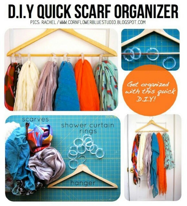 Handy for college. DIY rangement echarpe et foulard sur cintre