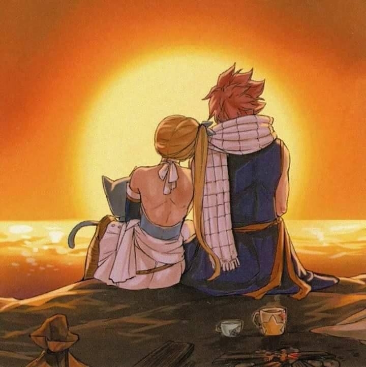 Natsu Lucy et Happy coucher de soleil