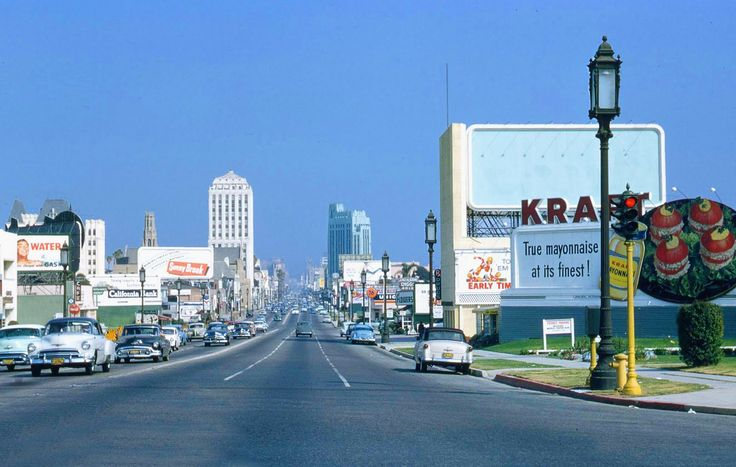 Wilshire Boulevard looking east toward the Wiltern Theater from about Crenshaw (ca. 1955)