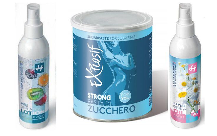 """Kit 3 prodotti (Holiday Depilatori): - n.1 Pasta di Zucchero Sugarpaste Strong """"Explosif"""" - 800ml; - n.1 Precera agli Acidi della Frutta - 250 ml; - n.1 Olio dopocera all'Azulene - 250ml    La cera in pasta di zucchero è naturale al 100%, biodegradabile e solubile in acqua. Estrae i peli nella loro naturale direzione di crescita, è igienica, non ha controindicazioni, effetto scrub - peeling; duplice trattamento di epilazione e pulizia della pelle."""