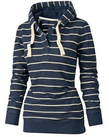 Stylish Hooded Long Sleeve Drawstring Striped Women's HoodieSweatshirts & Hoodies | RoseGal.com