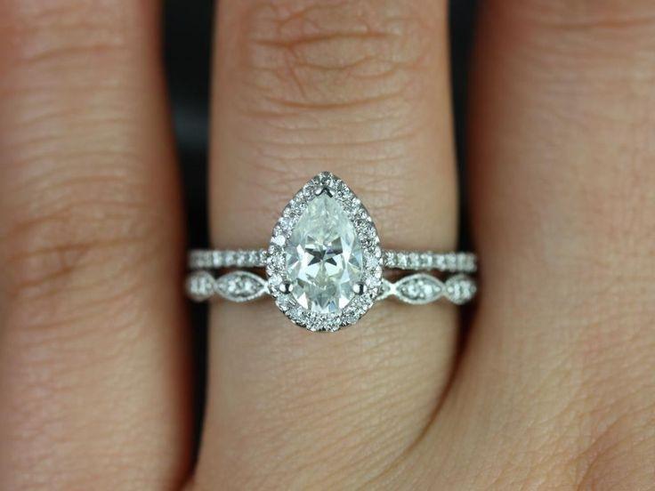 Rosados Box Tabitha 8x5mm & Christie White Gold Pear FB Moissanite and Diamonds Halo Wedding Set