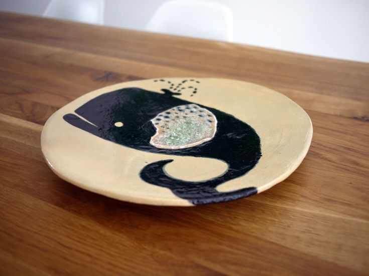 Black whale ceramic plate, Projectorium