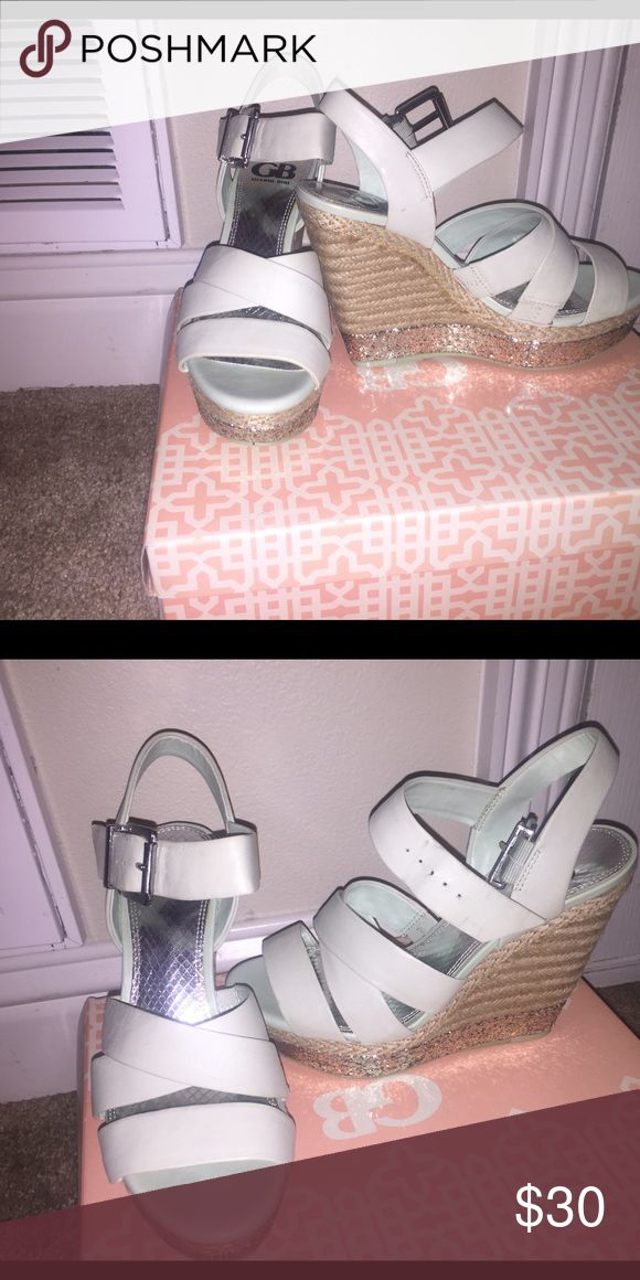 Gianni Bini Mint Wedges Mint wedges with silver sparkle at the bottom so cute! Tops off an outfit and is perfect for summer or winter and anything in between! Worn once for about an hour and a half for my graduation! So comfy!! Gianni Bini Shoes Wedges
