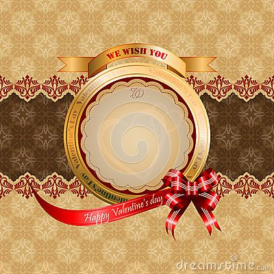 Happy Valentine's Day text on ribbon and arabesques patterns as background