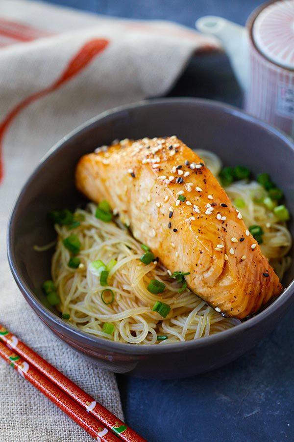 Salmon Teriyaki Noodles - moist and juicy salmon and rice noodles made with San-J Tamari. Gluten-free, healthy family weeknight dinner   rasamalaysia.com