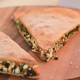 Spinach Stuffed Pizza (291 calories) and other healthy spinach recipes