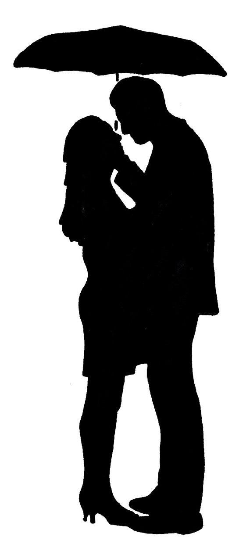 couple umbrella silhou...