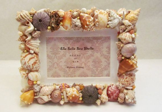 Sea Shells Picture Frame 5x7 SPRING SALE by ellesellsseashells, $24.99