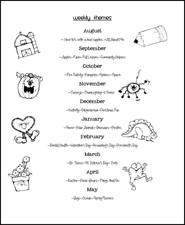 WEEKLY THEMES; http://www.meandmarielearning.blogspot.com/2012/05/lookin-ahead.html