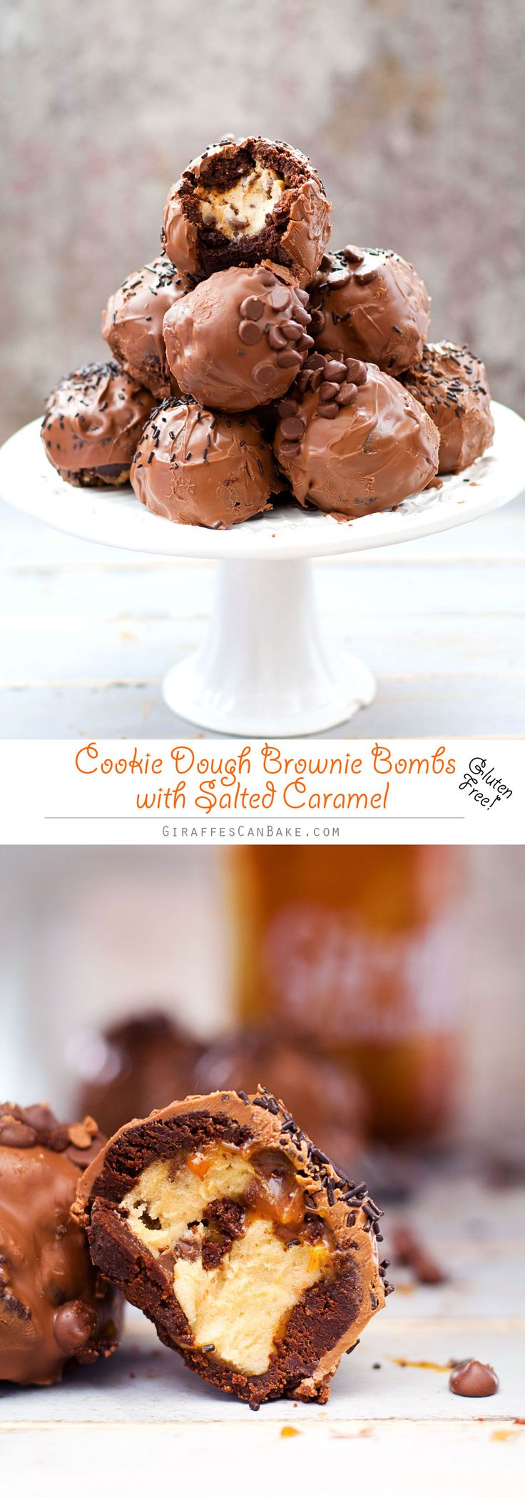 Gluten Free Cookie Dough Brownie Bombs with Salted Caramel - These Cookie Dough…
