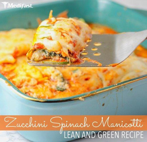Zucchini Spinach Manicotti