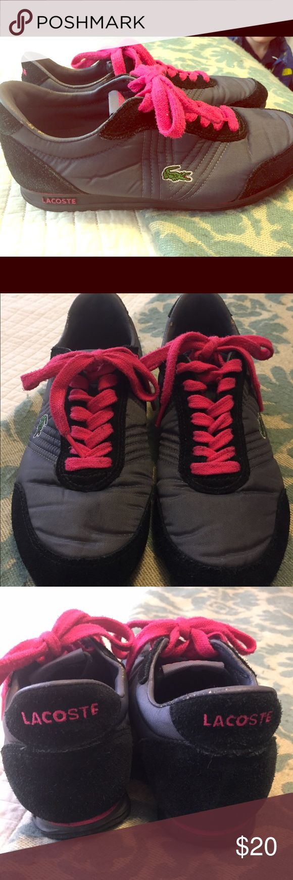 1 day sale!! Lacoste tennis shoes Lacoste pink black and grey tennis shoes. Good used condition. A few scuffs around the top near ankles. Cute shoes to throw on for a sporty look and super comfortable! Lacoste Shoes Sneakers